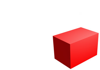big red 3d box on right cornerin  buttom  isolate on white background empty space for place brand logo or texture .3d render