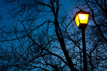 street lamp on the background of blue sky