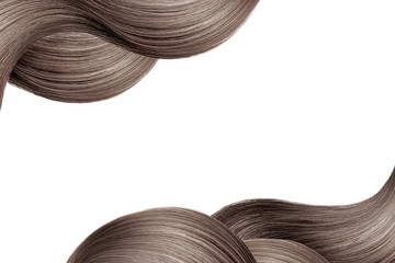 Papiers peints Salon de coiffure Natural brown hair isolated on white. Background