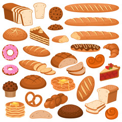 Cartoon bread and cakes. Bakery wheat products, rye breads. Baguette, pretzel and ciabatta, croissant and cupcake, waffles vector set