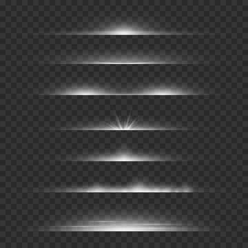 Light dividers. Line flare glowing borders, white horizontal beams. Futuristic transparent rays vector set
