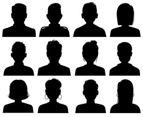 Silhouette heads. Male and female head avatars, office professional profiles. Anonymous faces portraits, black outline photo vector set