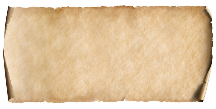 vintage horizontal old paper sheet isolated on white