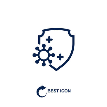 virus and shield. monochrome icon