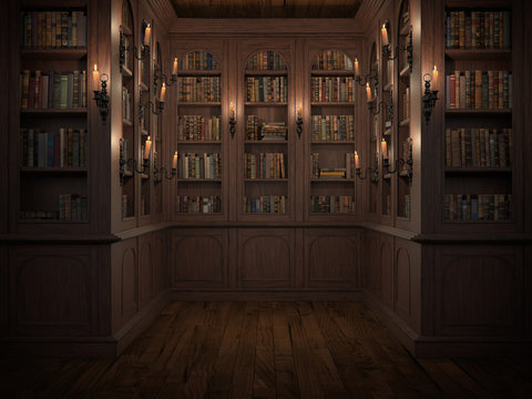 Mysterious library with candle lighting. With vintage books