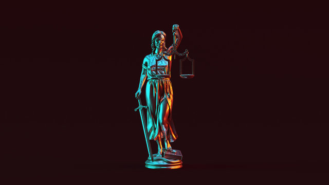 Silver Lady Justice Statue the Personification of the Judicial System with Red Orange and Blue Green Moody 80s lighting Front 3d illustration 3d render