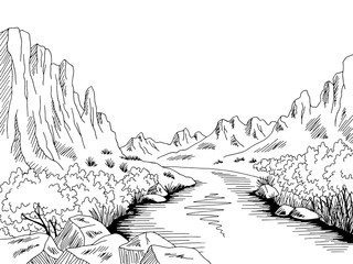 Canyon river graphic black white desert mountain landscape sketch illustration vector