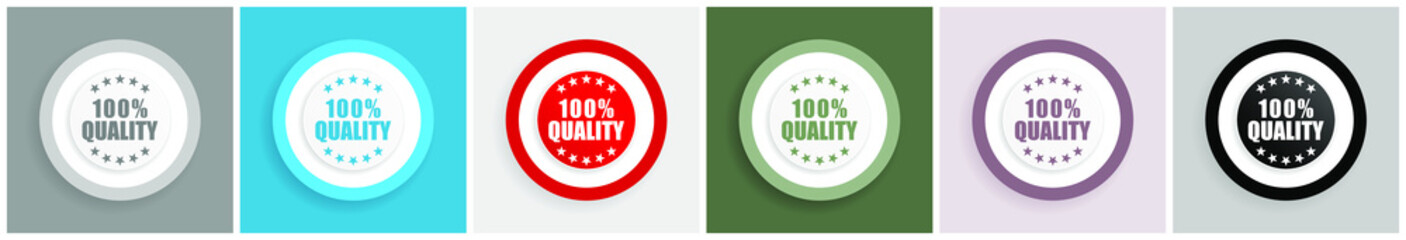 """100 % quality icon set, colorful flat design vector illustrations in 6 options for web design and mobile applications"""""""