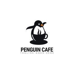 fun logo penguin cafe, with cup and penguin vector