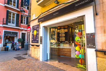 Majorca, Spain - January, 2019: View of ice cream shop Rivareno in Palma de Majorca old town, Balearic Islands
