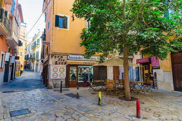 Majorca, Spain - January, 2019: Old traditional spanish confectionery and pastry shop at the historic city center of Palma de Majorca