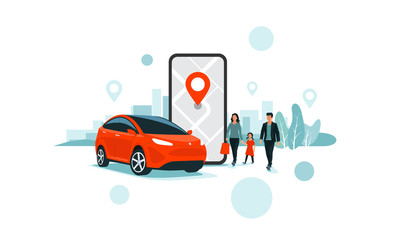 Vector illustration of autonomous online car sharing service controlled via smartphone app. Phone with location mark and smart family car in modern city skyline. Connected vehicle remote parking.