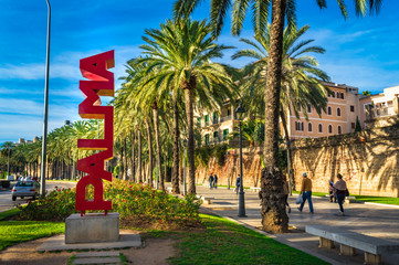 Majorca, Spain - January, 2019: Palma de Majorca city center with palm tree alley and view of Palma sign