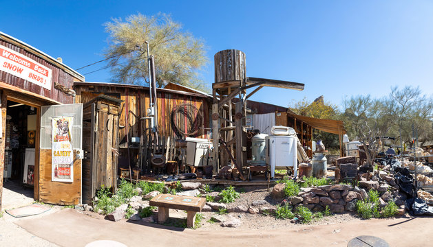 """panoramic view of the the famous """"living ghost town"""" along historical Route 66"""
