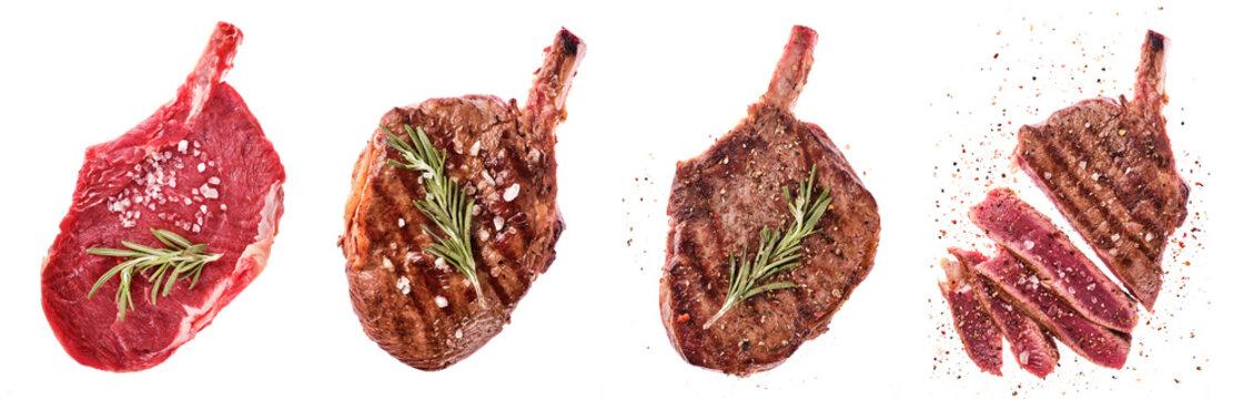 Rib eye steak. Entrecote on the bone. Raw, fried and sliced steaks