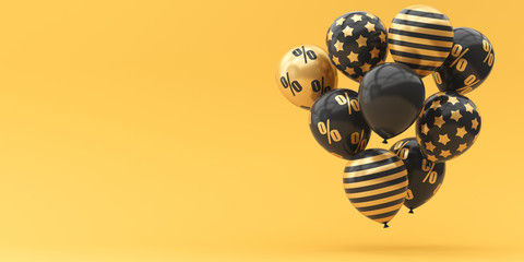 Balloons black with gold percent on a golden background. 3d render illustration. Black Friday.