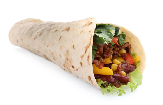 Delicious meat tortilla wrap isolated on white