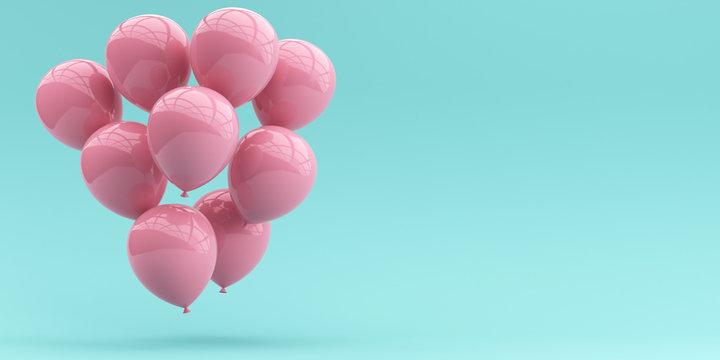 Pink balloons on a pastel blue background. 3d render illustration.