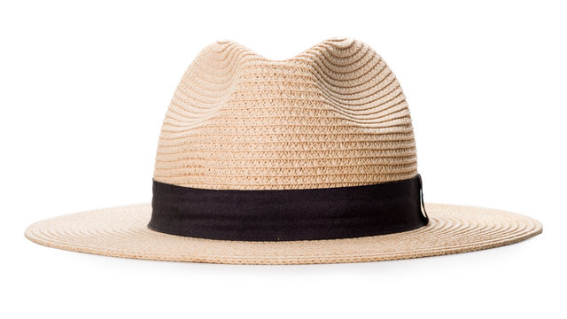 Cream wide-brimmed hat isolated on white background with clipping path.