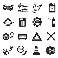 Roadside Assistance And Tow Icons. Black Flat Design. Vector Illustration.