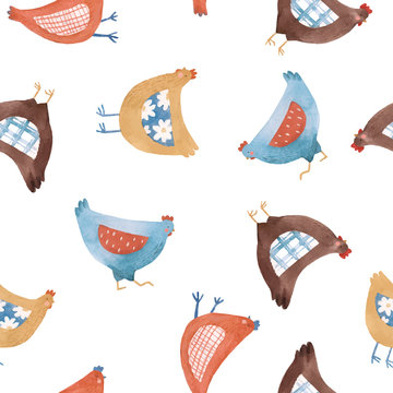Vector seamless pattern with nice cute watercolor chicken hen bird in rural rustic country style