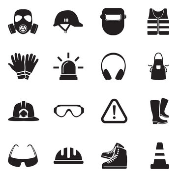 Safety Equipment Icons. Black Flat Design. Vector Illustration.