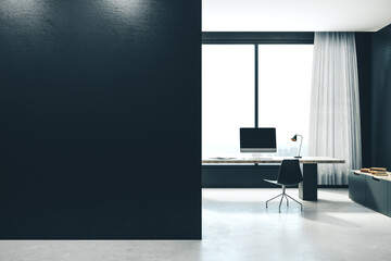 Contemporary office interior with workplace,
