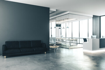 Concrete office interior with reception desk, city view and daylight. 3D Rendering