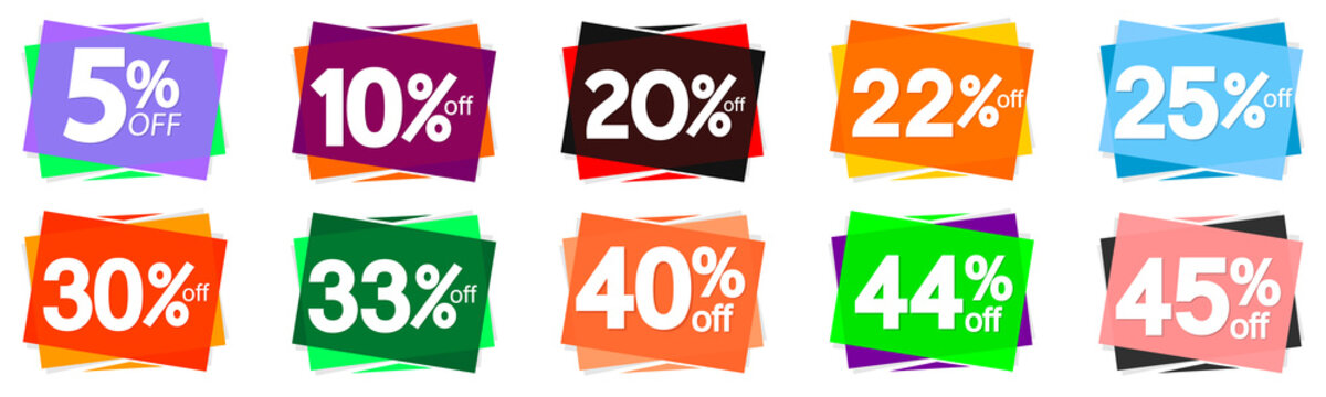 Set Sale banners design template, discount tags, great promotion, vector illustration
