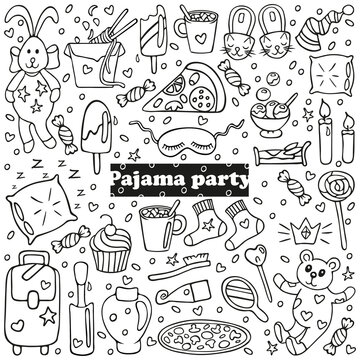 Big set of pajama party icons. Sleepover or slumber party objects in doodle style. Isolated on white background. For banners, cards, coloring book, stickers design. Cute hand drawn vector