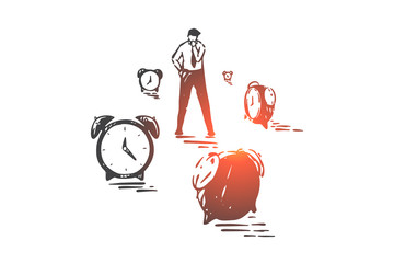 Time management, planning and effectiveness concept sketch. Hand drawn isolated vector