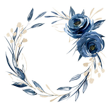 Wreath with watercolor blue flowers and gold leaf, floral frame. Clip art roses perfectly for printing design on invitations, cards, wall art and other. Isolated on white background. Hand painting.