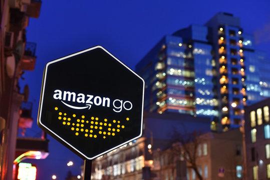 Kiev / Ukraine - 01.22.18: Sign of Amazon Go