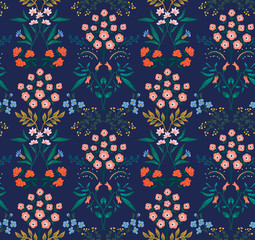 Japanese Tropical Floral Seamless Pattern
