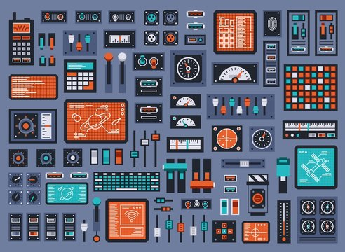 Set of control panel elements for spacecraft or technical industrial station. Vector illustration.