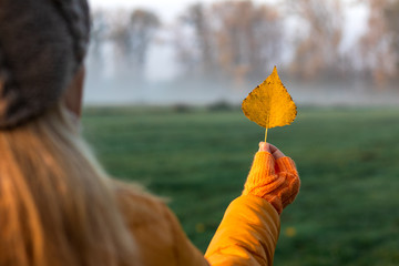 Woman holding yellow leaf. Autumn misty morning at nature