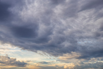cloudy sky with clouds at sunrise