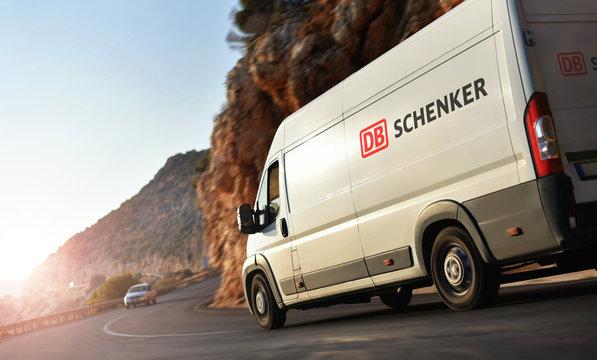 Kas / Turkey - 10.08.18: Delivery van of DB Schenker