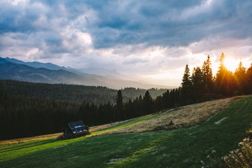 Photo sur Aluminium Bleu jean Forest under mountain peaks in clouds at sunset. Tatra Mountains, Poland.