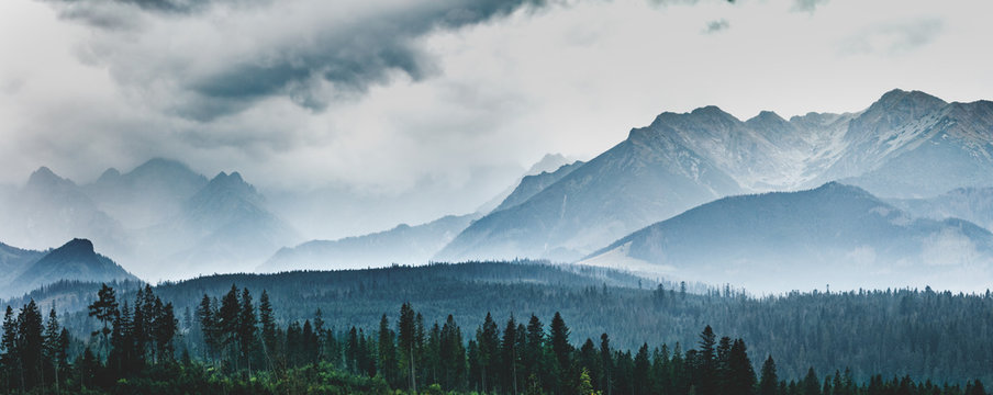 Mountain peaks in clouds and fog. Tatra Mountains, Poland.