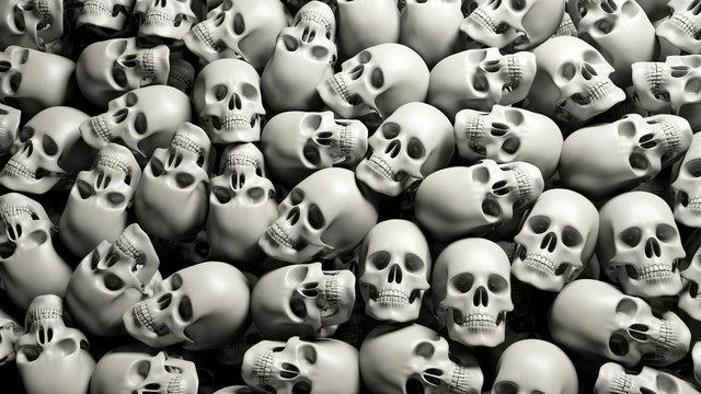 Skulls pile halloween background