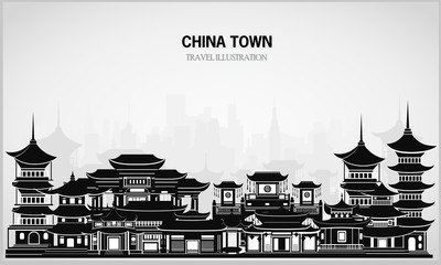 Vector greeting card with Chinese traditional houses in black and white.