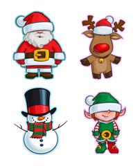 Christmas Cartoon Icon Set - Santa Claus Red-Nose Reindeer Snowman Elf