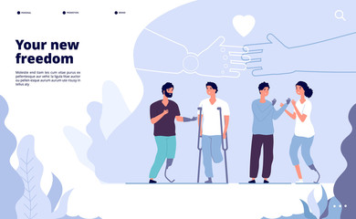 Disabled people landing. International day of persons with disabilities. prosthesis gives your new opportunity. Vector design international world day people with disability illustration
