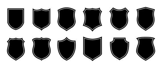 Police badge shape. Vector military shield silhouettes. Security, football patches isolated on white background. Illustration shield shape protection, black security and football badge