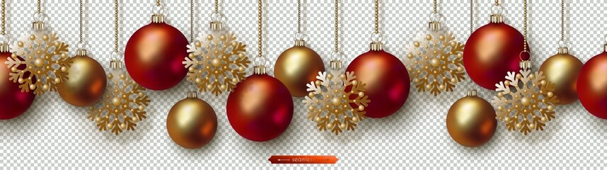 Christmas and New Year seamless border. Golden snowflakes, red and gold realistic Christmas balls hanging on chains. Decorative vector ornament for festive design isolated on transparent background