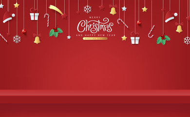 Fototapete - Winter christmas composition in paper cut style and red shelf on the wall for display. Merry Christmas text Calligraphic Lettering Vector illustration.