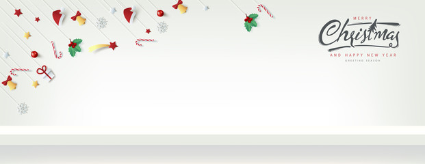 Wall Mural - Winter christmas composition in paper cut style and red shelf on the wall for display. Merry Christmas text Calligraphic Lettering Vector illustration.