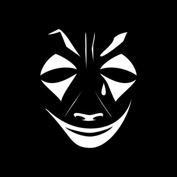 White joker makeup on a black background. Banner of an evil clown with a tear. Vector illustration of a joker face. The stage character of the actor of cinema, theater, circus.
