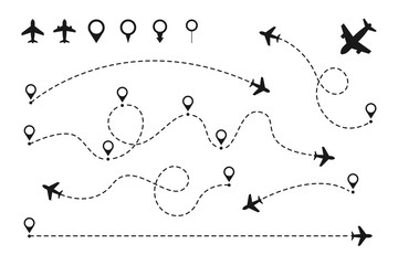 Airplane routes set. Plane paths. Aircraft tracking, planes, travel, map pins, location pins. Vector illustration.